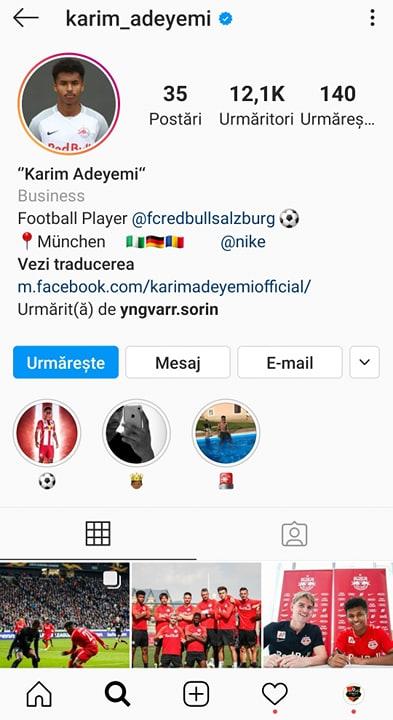 Karim Adeyemi. Sursă foto: instagram