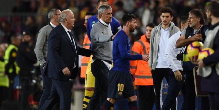 Quique Setien și Lionel Messi. Sursă foto: goal.com