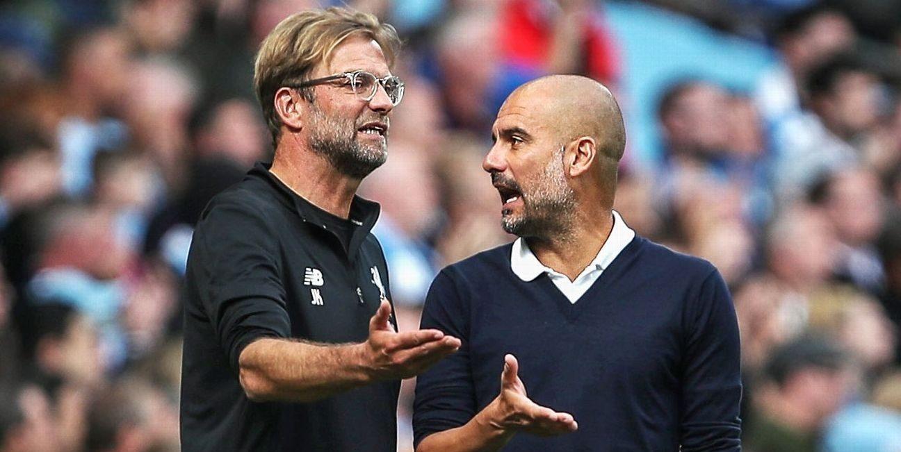 Pep Guardiola și Jurgen Klopp. Sursă foto: footballghana.com