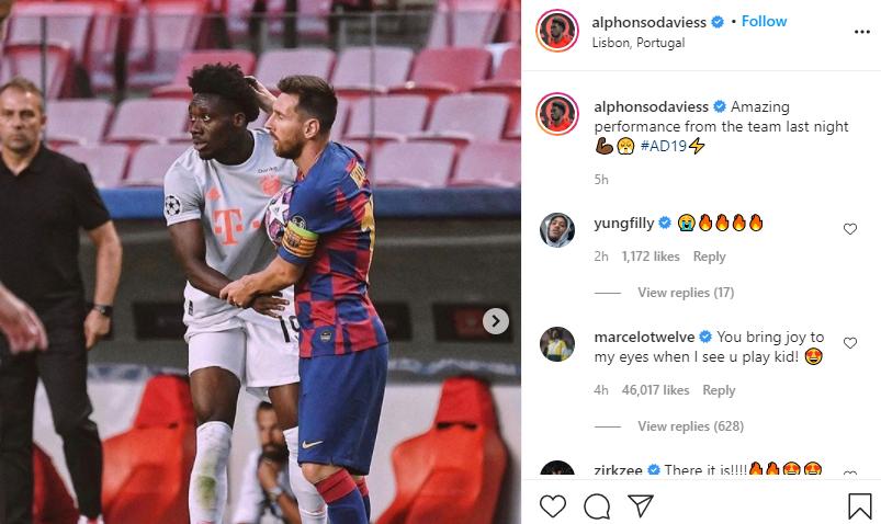 Comentariul lui Marcelo la postarea lui Alphonso Davies. Sursă foto: Instagram