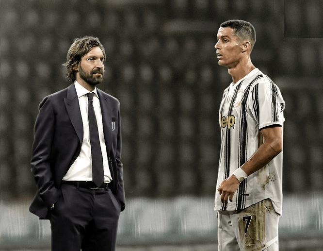 Andrea Pirlo și Cristiano Ronaldo. Sursă foto: axadlestimes.com