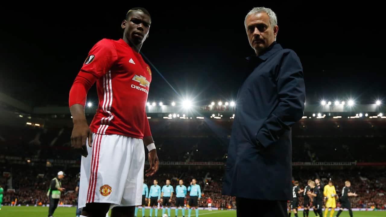 Paul Pogba și Jose Mourinho. Sursă foto: goal.com