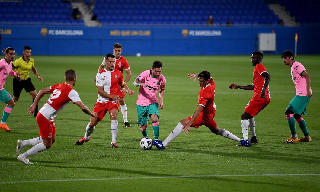 Lionel Messi în amicalul cu Girona. Sursă foto: goal.com