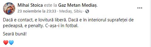 Mesajul lui Mihai Stoica. Sursă foto: Facebook