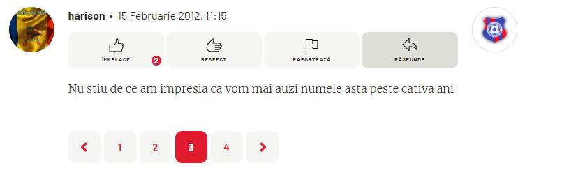 Captură de ecran cu un comentariu lăsat de un utilizator la postarea despre transferul lui Ionuț Radu la Dinamo, în 2012. Sursă foto: gsp.ro