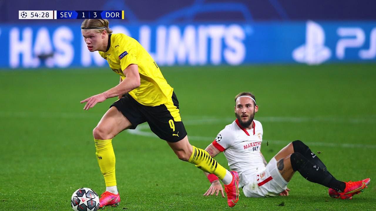 Erling Haaland în meciul cu Sevilla. Sursă foto: youtube.com