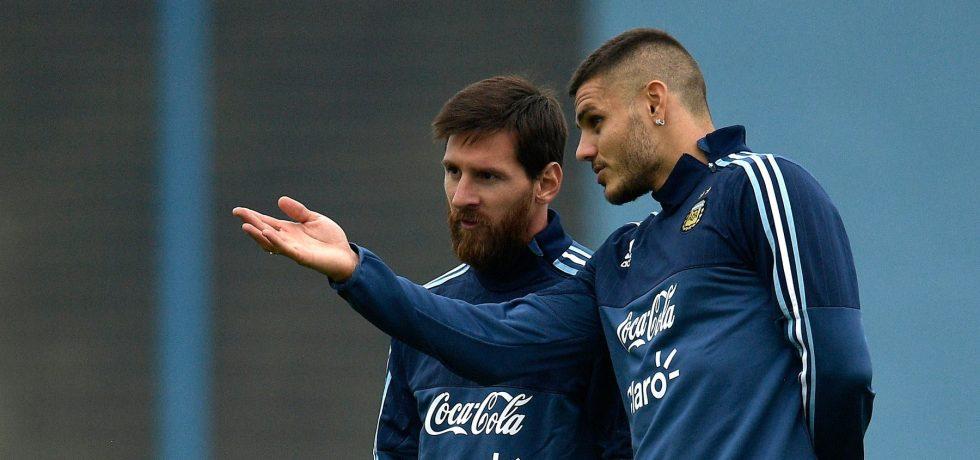 Mauro Icardi și Lionel Messi la naționala Argentinei. Sursă foto: barcelonanoticias.com