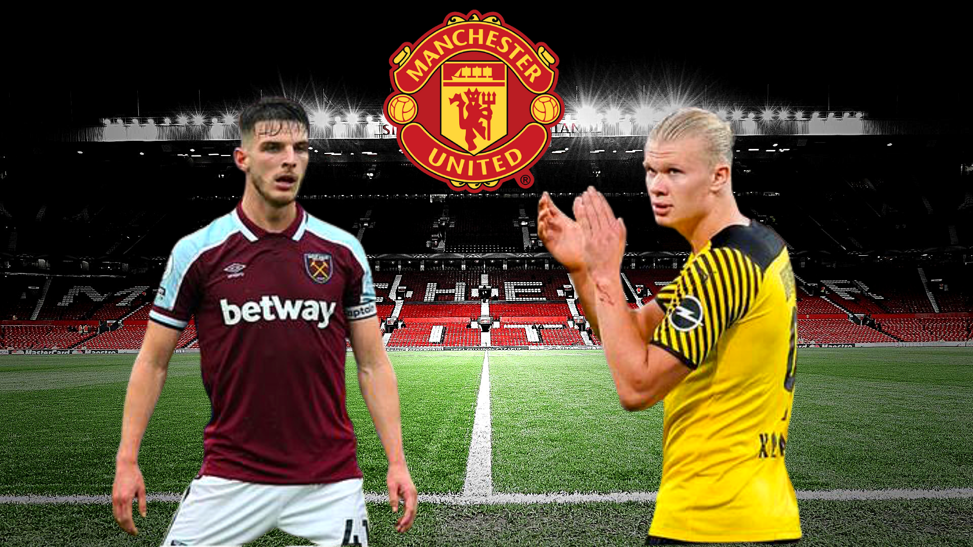 Manchester United forțează transferurile lui Haaland și Rice. Sursă foto: primul11.com